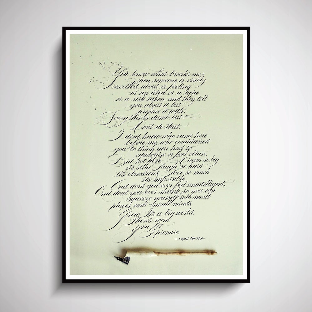 "Image of ""Grow. It's a Big World"" by Owen Lindley - Custom Calligraphy PRINT"