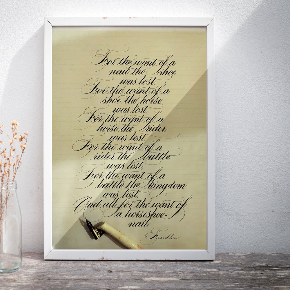 Image of A BEAUTIFUL POEM BY FRANKLIN - CUSTOM CALLIGRAPHY PRINT