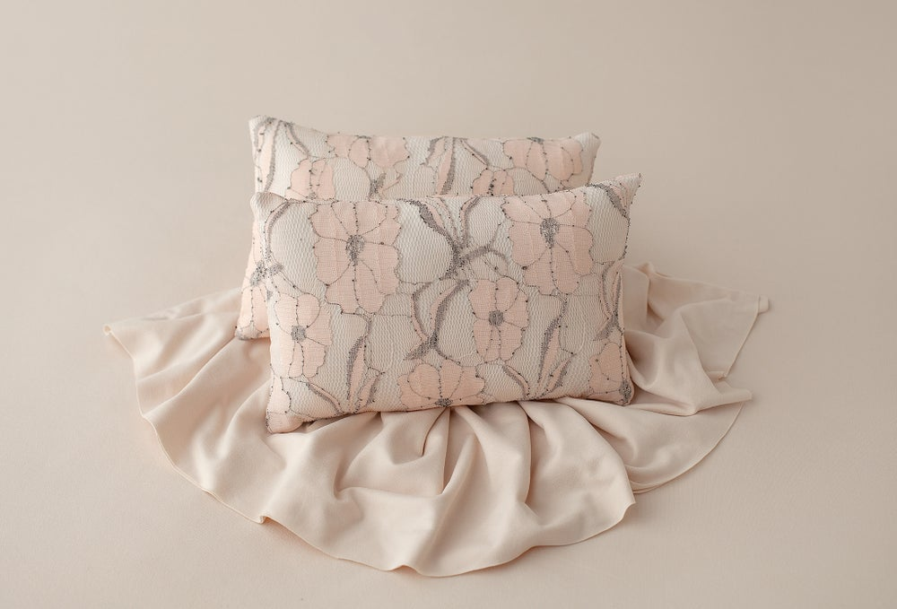 Image of Peachy Pink Lace Pillow