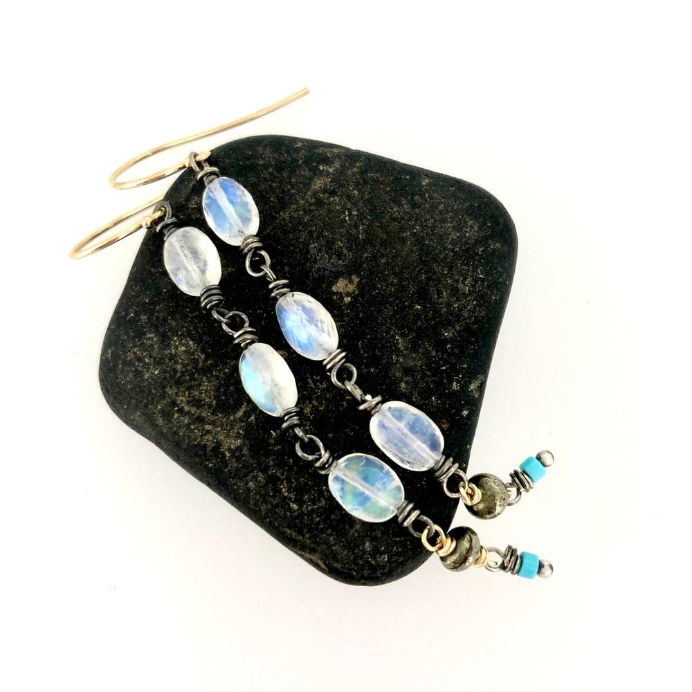 Image of Rainbow moonstone and Kingman turquoise earrings