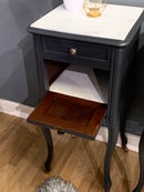 Image 2 of French grey white marble top bedside tables