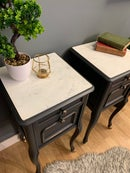 Image 5 of French grey white marble top bedside tables