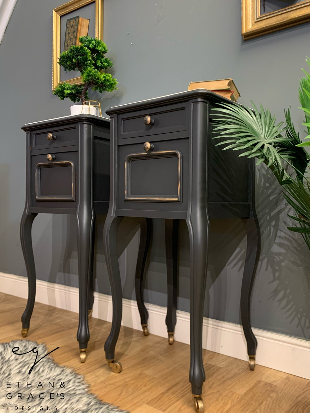 Image of French grey white marble top bedside tables
