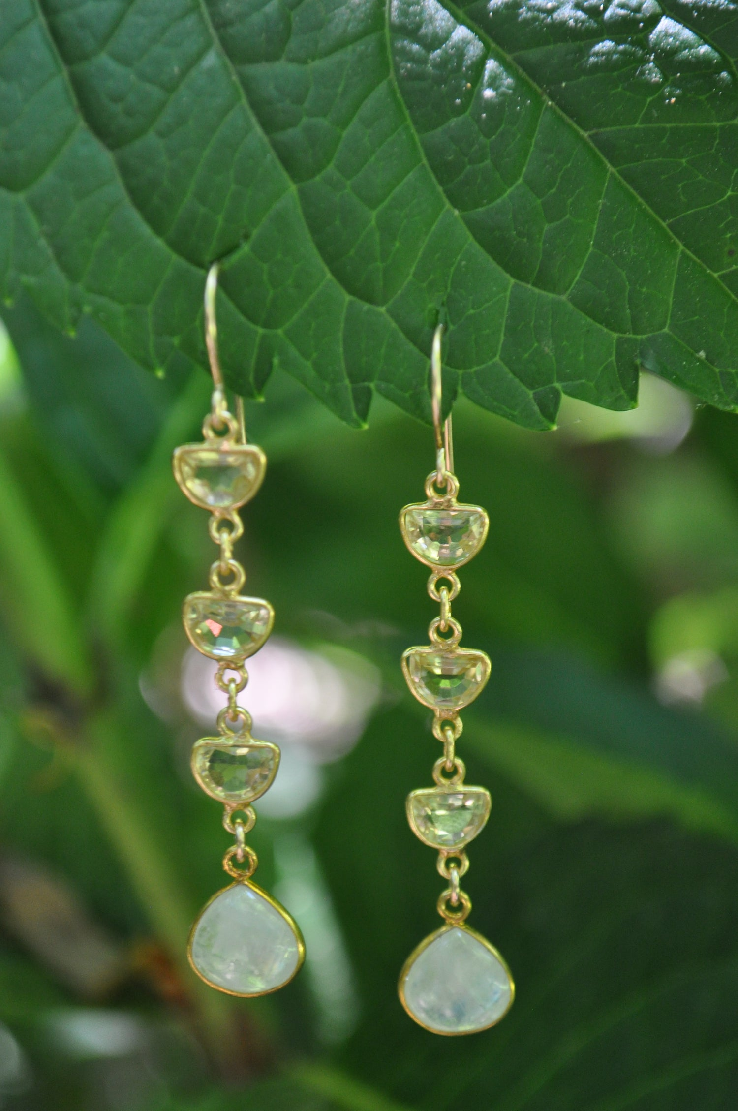 Image of Triple Citrine and Moonstone Dangles
