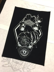 Image of Rose in hand jacket back patch