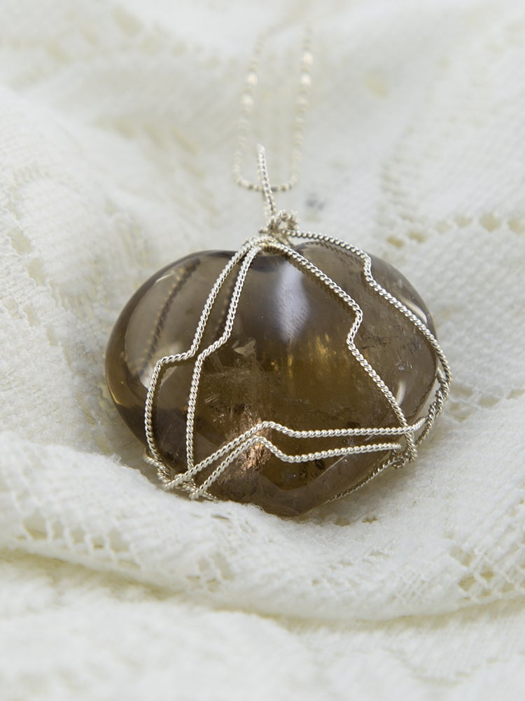 Image of Smoky Quartz Heart Shaped Pendant wrapped in sterling silver