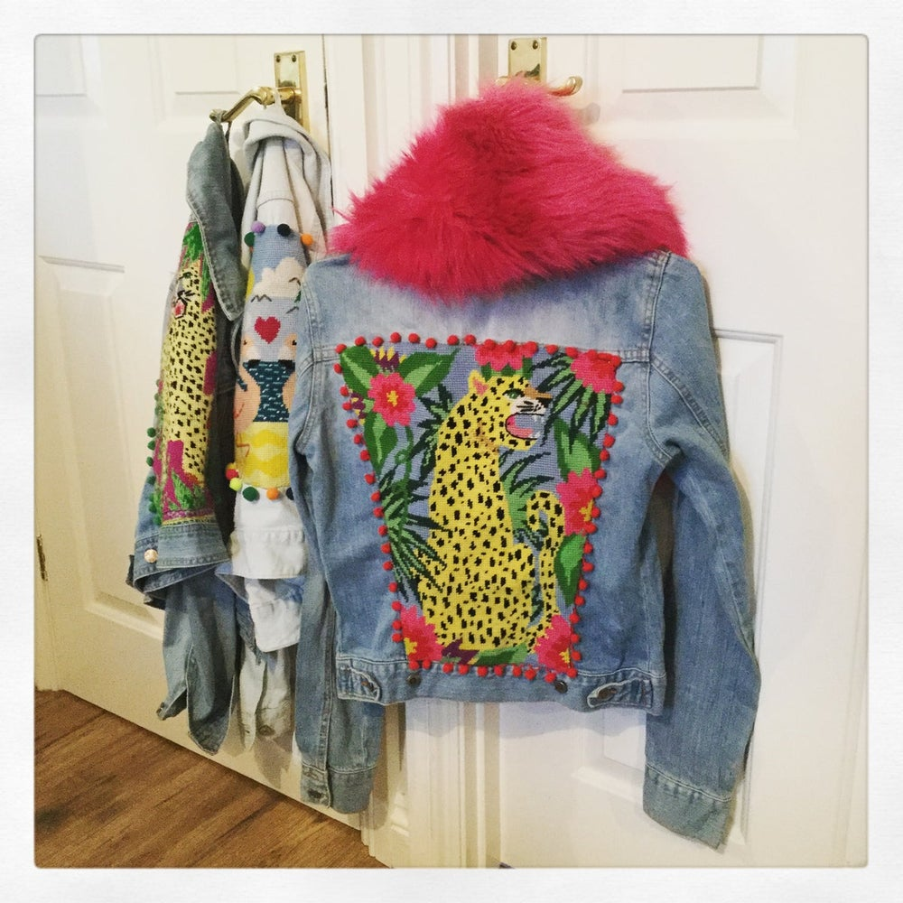 Image of Snarling Leopard Denim Jacket