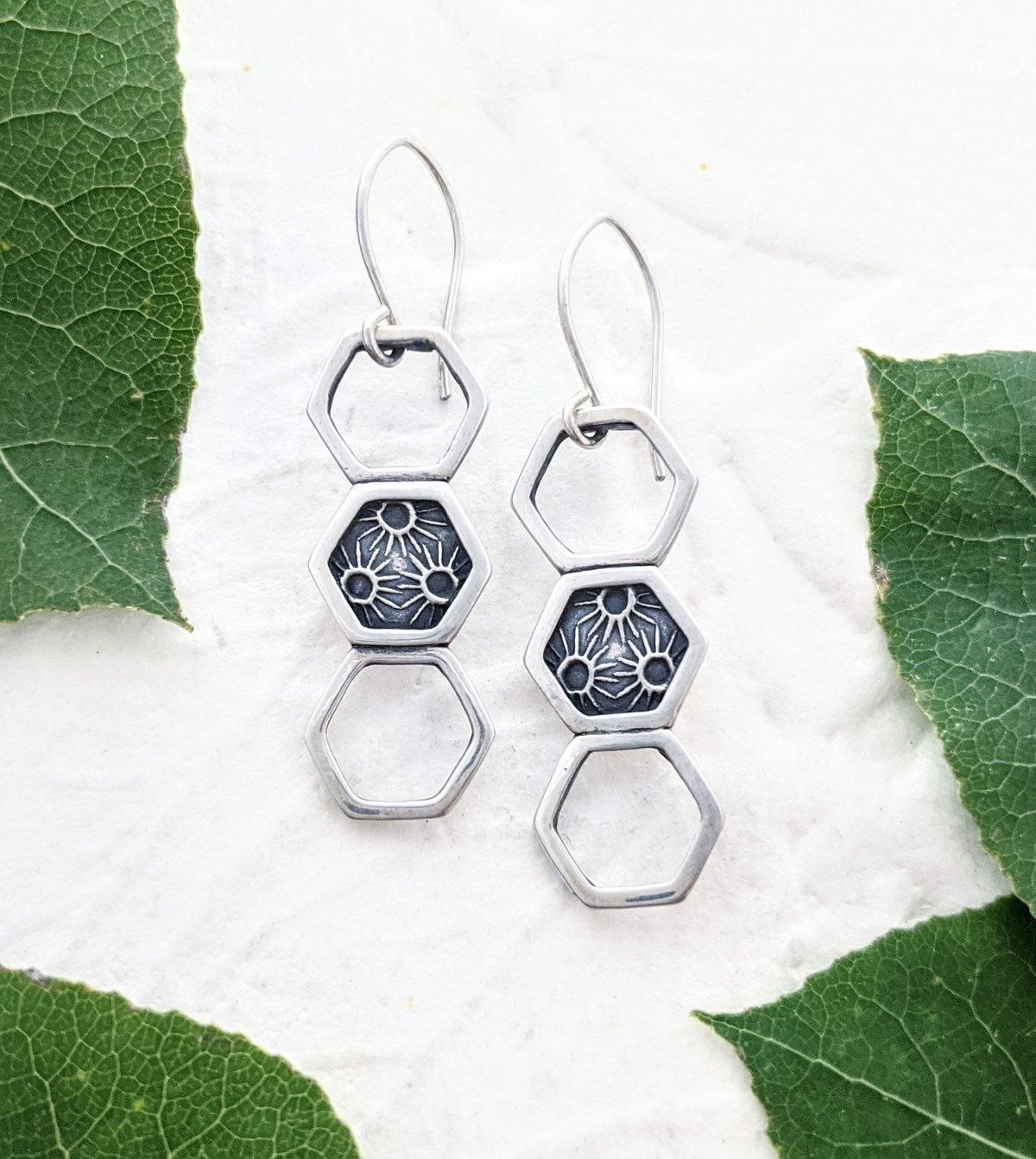 Image of Triple Hexagon Sunburst Earrings