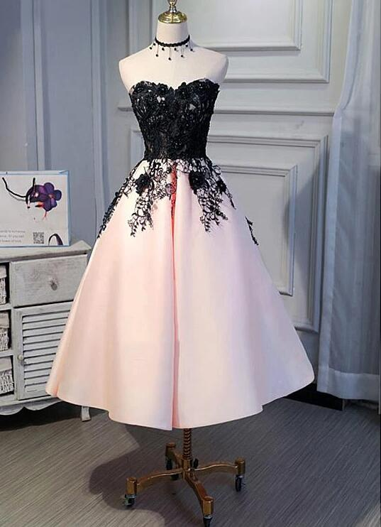 Pink Satin Sweetheart with Black Lace Wedding Party Dress, Pink Evening Dress