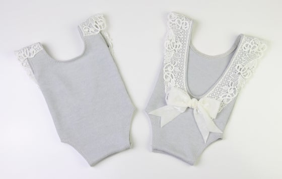 Image of Newborn Romper - grey & white