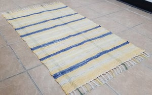 Image of Rag Rug - Yellow & Blue w/ Sage & Off-White, Medium Size