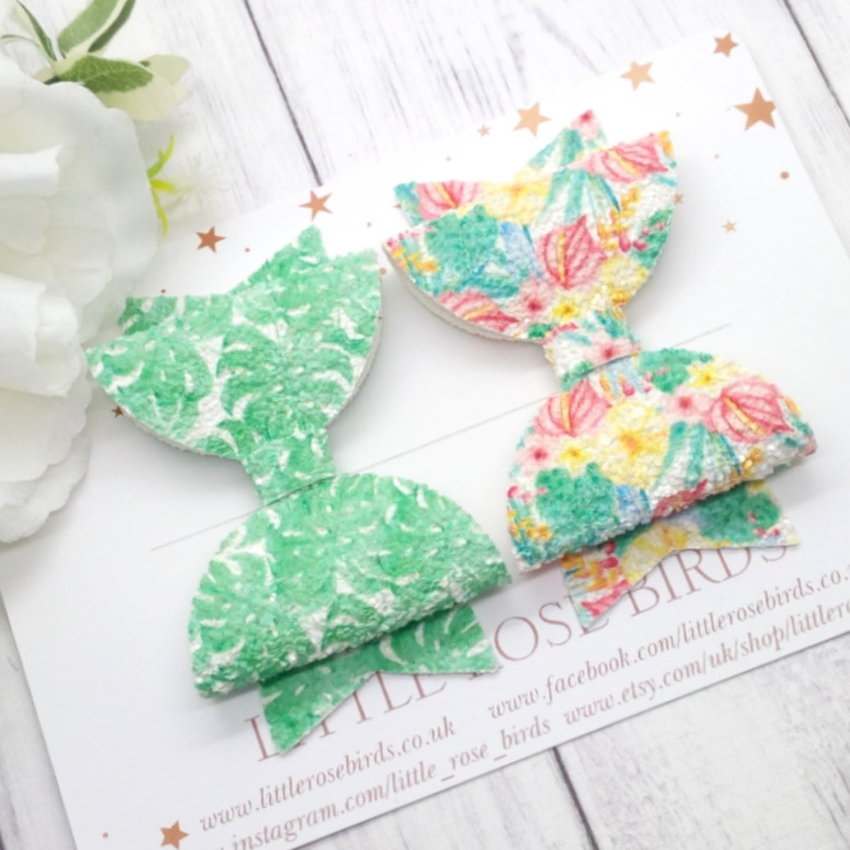 Image of Tropical Leaves & Floral Glitter Bow Set - Choice of Headband or Clip