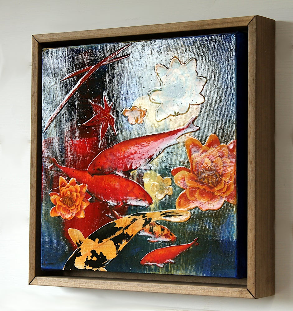 Image of Original Canvas - Koi on Cobalt with Lilies - 30cm x 30cm