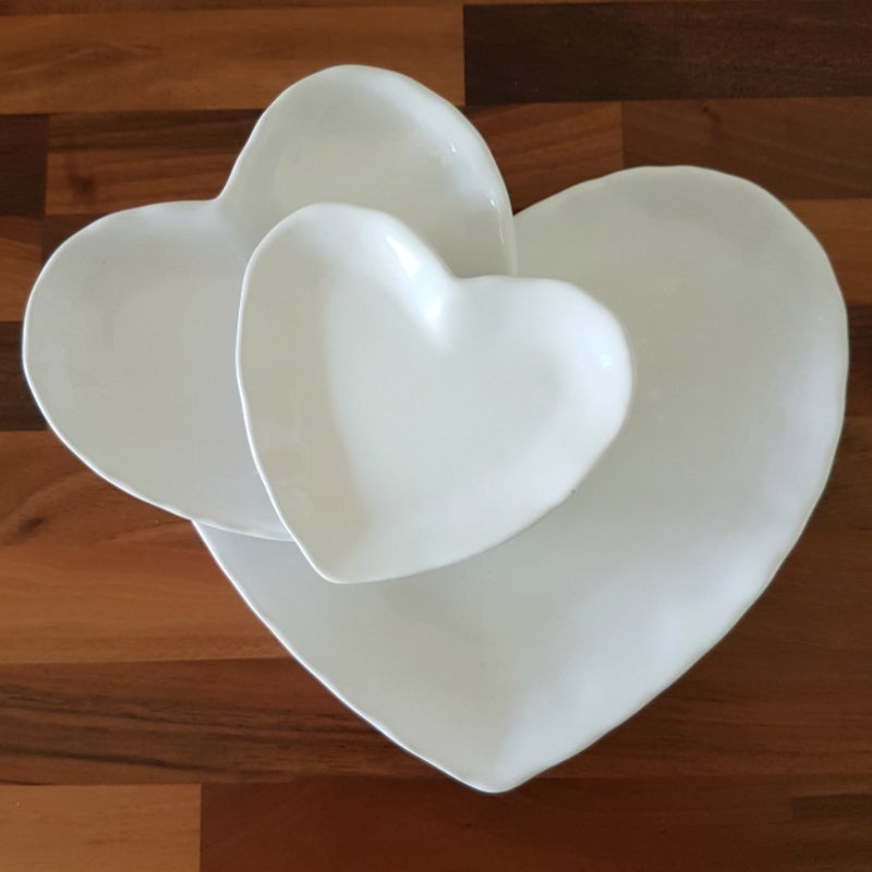 Image of White Heart Plate ~ Large
