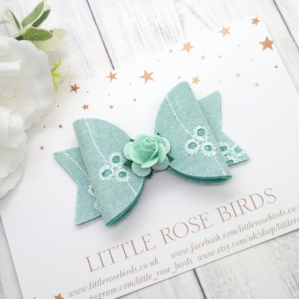 Image of Mint Green Rainbow Broderie Anglaise - Choice of Headband or Clip