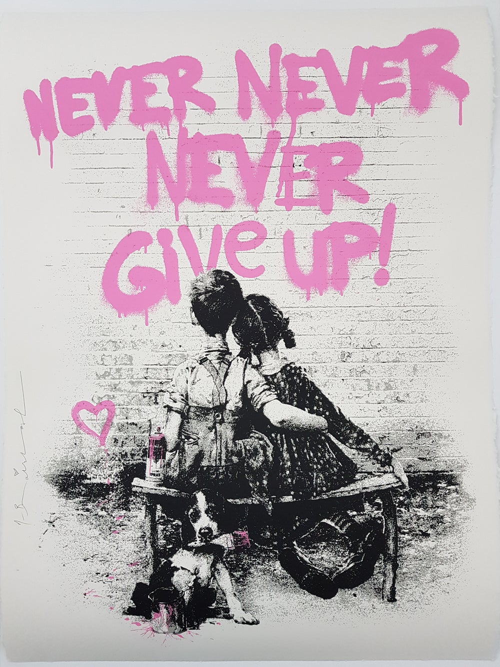 """Image of MR BRAINWASH """"DONT GIVE UP"""" - LIMITED EDITION 75 - 3 COLOUR SCREENPRINT"""
