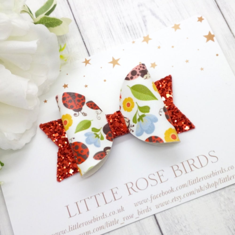 Image of Happy Ladybirds Bow - Choice of Headband or Clip