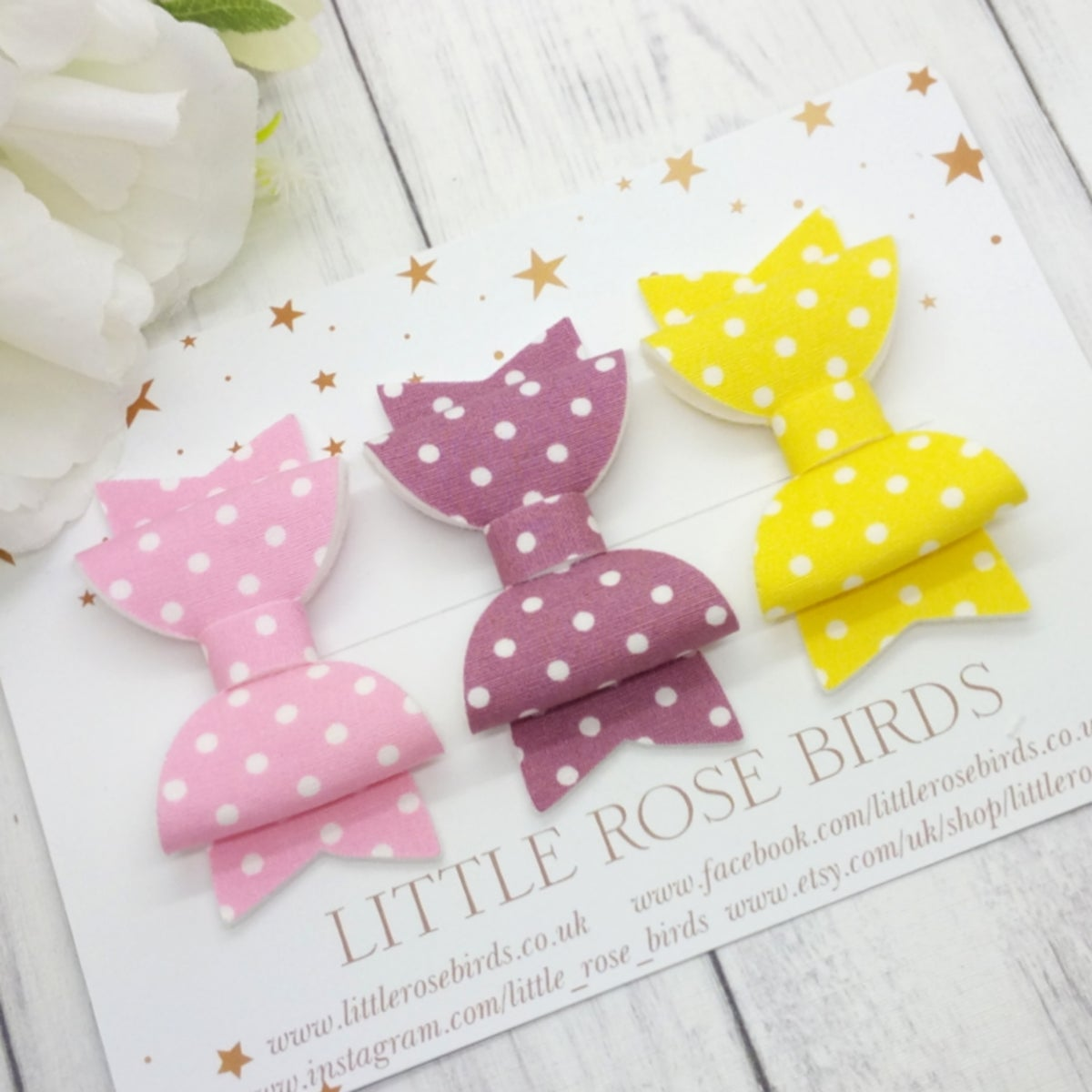 Image of Summer Polka Dot Bows - Choice of Headband or Clips