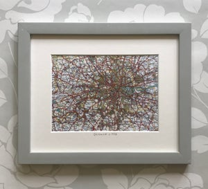 Image of London & surrounds c. 1933 (with Swarovski crystal placement)