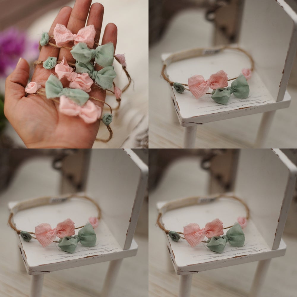 Image of 2 bows and flowers headband  (green & pink)