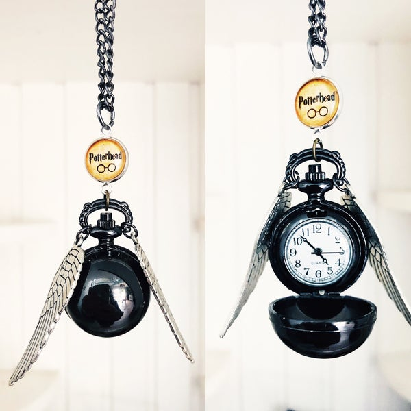 Image of Vif d'or black montre collier Harry Potter