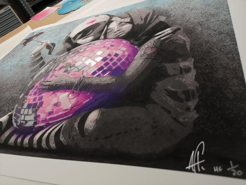 Image of AFK - Hug the world (Handfinished 50x70)