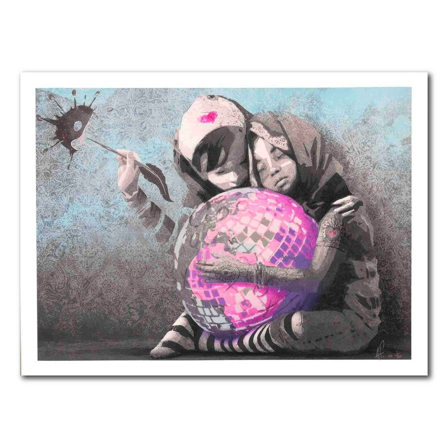 Image of AFK - Hug the world (Handfinished 50x70)