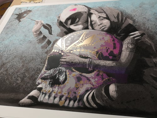 Image of AFK - Hug the world (Handfinished 70x100)