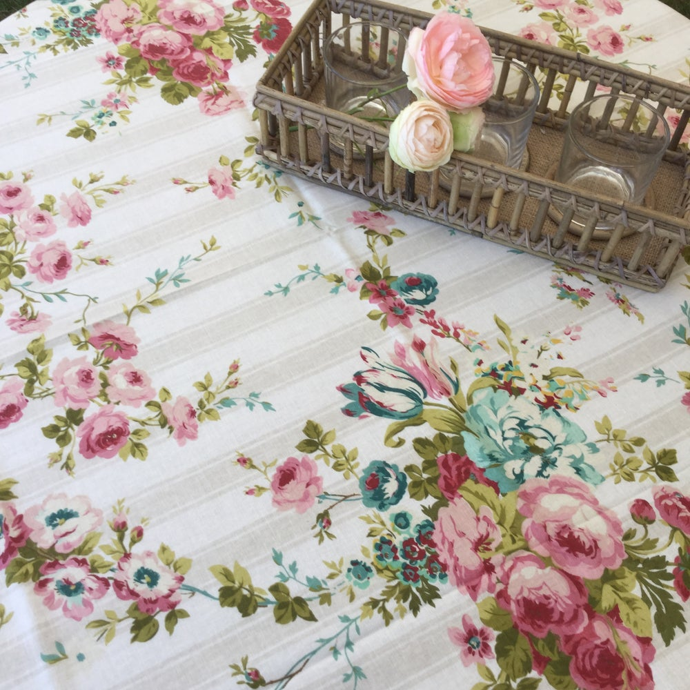 Image of Nappe carrée ESCAPADE lin fleuris Anglais