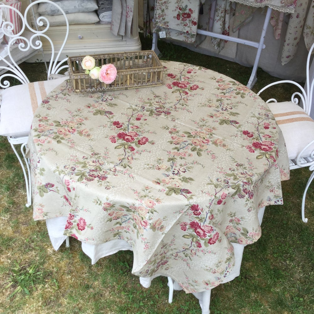 Image of -20% Nappe carré « COTTAGE » fond lin 140/140cm