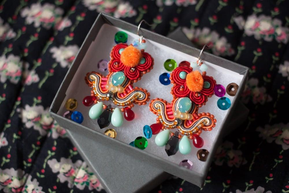 Image of Deli Earrings - Mrs Blue Sky - Boucles brodées