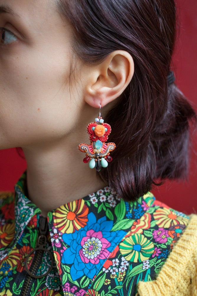 Image of Deli Earrings - Mrs Blue Sky - Boucles brodées