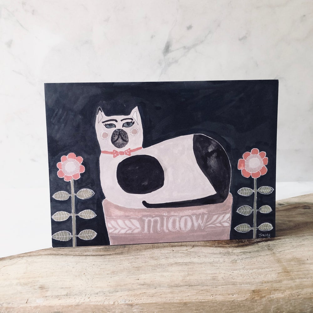 Image of Staffordshire Cat Greetings Card
