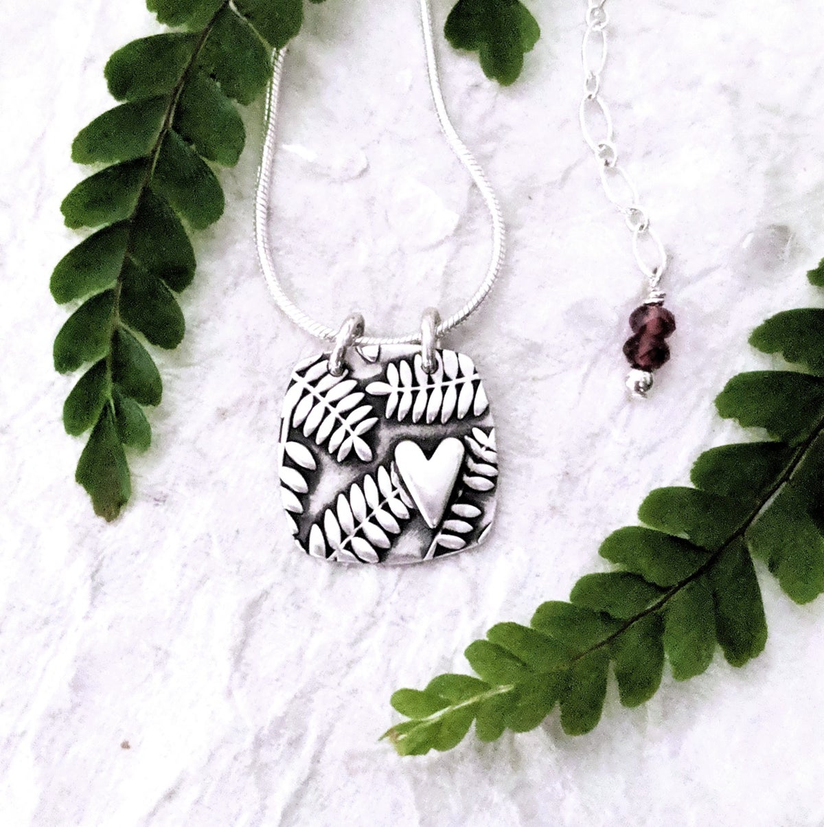 Image of Fern Heart Square necklace
