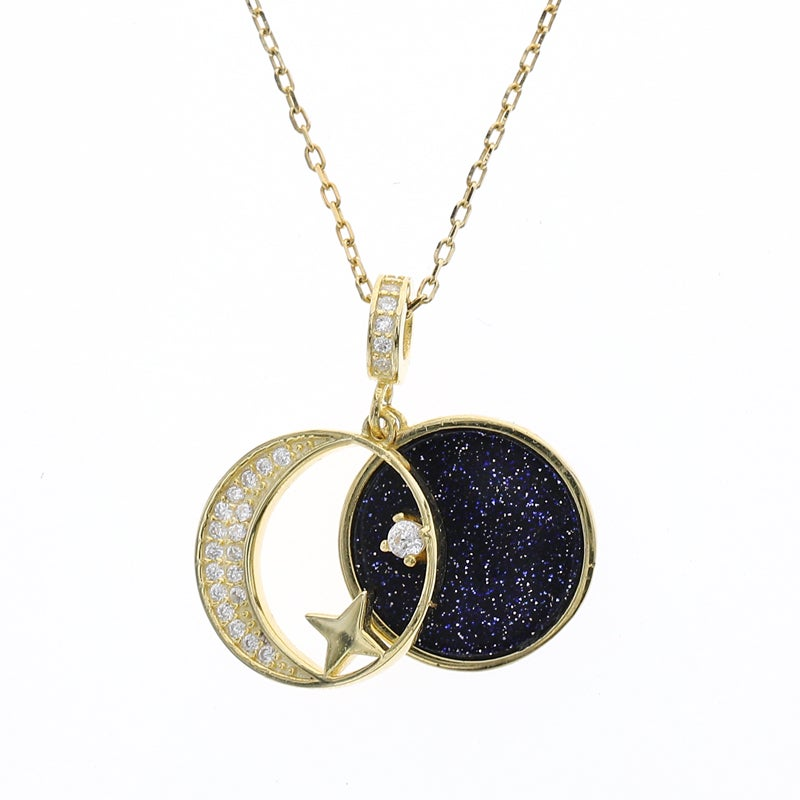 Moon Star Necklace (925 Sterling Silver)
