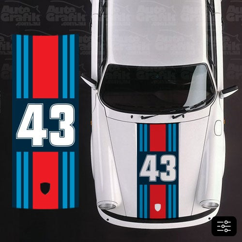 Image of MARTINI RACING WIDE HOOD STRIPE WITH CUSTOM NUMBER