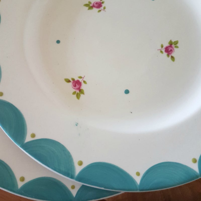 Image of Blue Flora Plates ~ Set of Four
