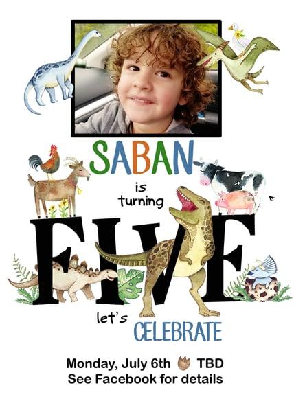 Image of Dinosaur & Farm Animal Birthday Invitation