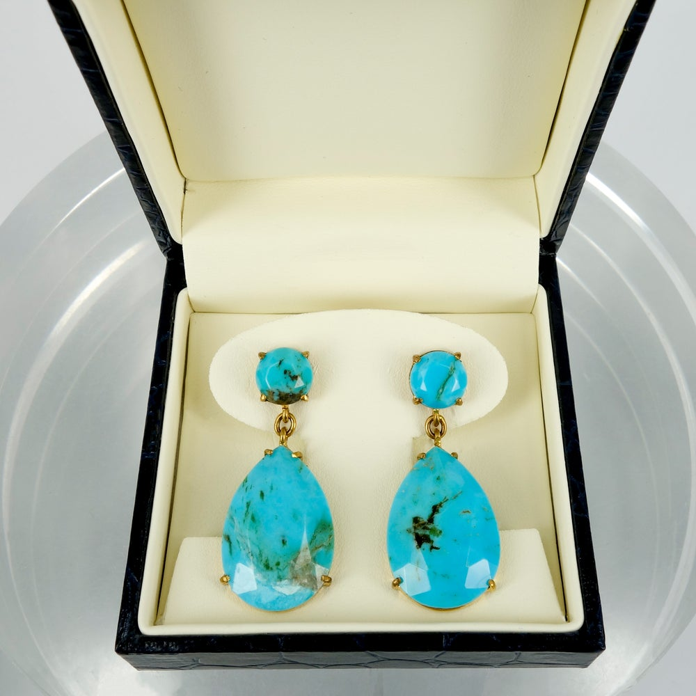 Image of M2742 - Sterling Silver Gold plate turquoise drop earrings