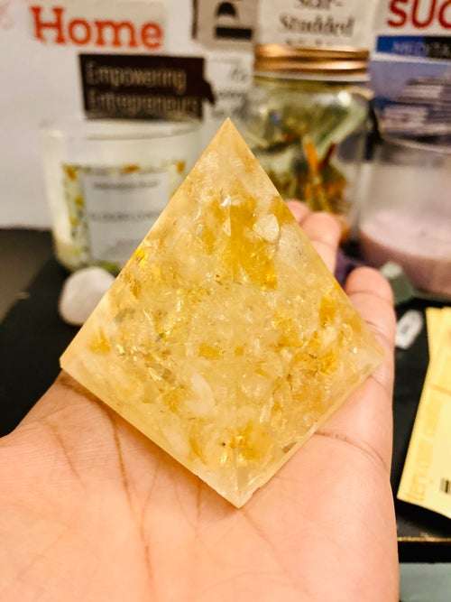 Image of Citrine Pyramid | Wealth | Abundance | Money Maker | Home Decor | Natural Crystals