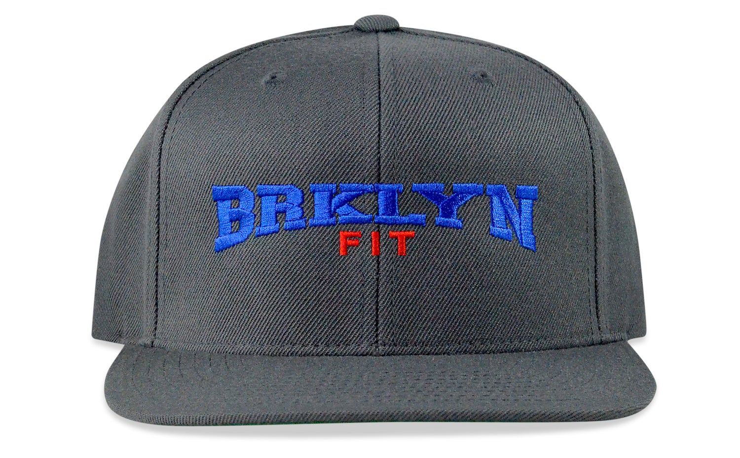 Image of BRKLYN FIT COLLEGE LOGO - (GREY/BLUE/RED) - SNAPBACK