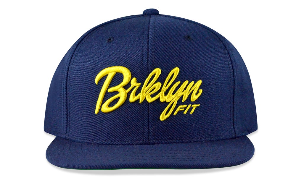 Image of BRKLYN FIT® LOGO - 3D (NAVY/YELLOW) - SNAPBACK