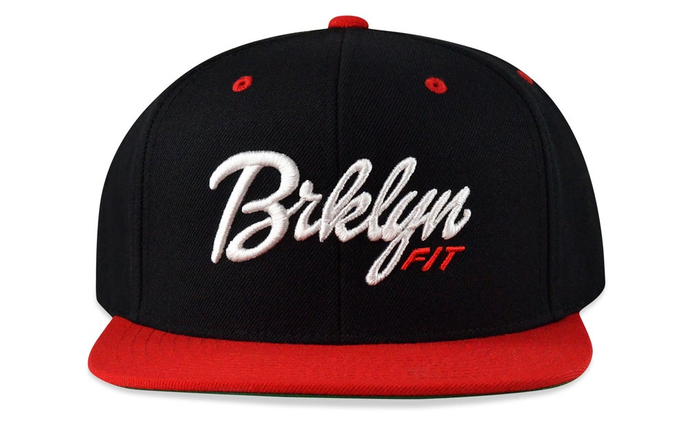 Image of BRKLYN FIT® LOGO - 3D (BLACK/WHITE/RED) - SNAPBACK