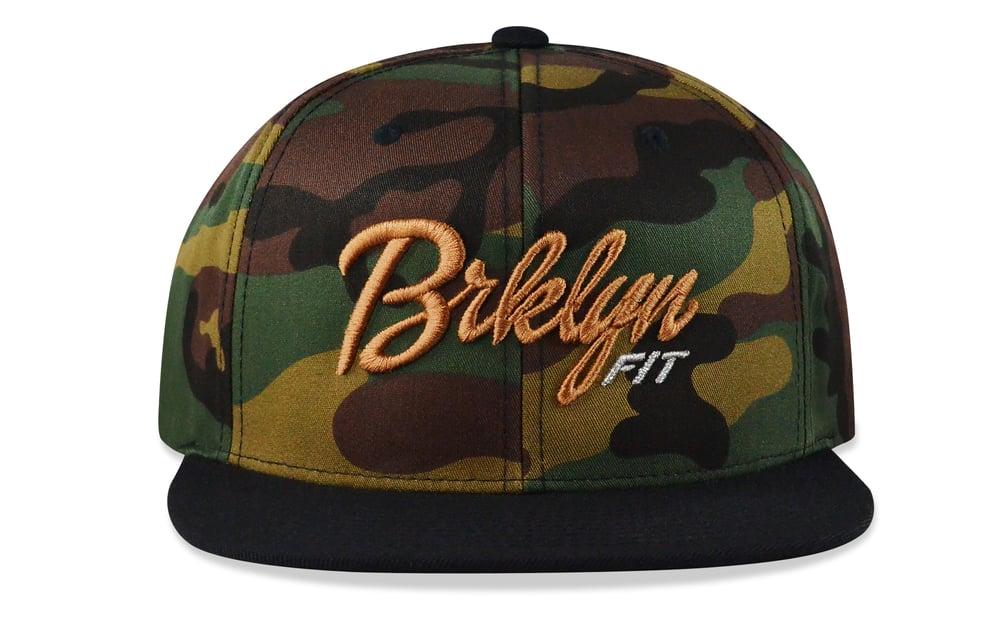 Image of BRKLYN FIT® LOGO - 3D (CAMO/LIGHT BROWN/METALLIC SILVER) - SNAPBACK