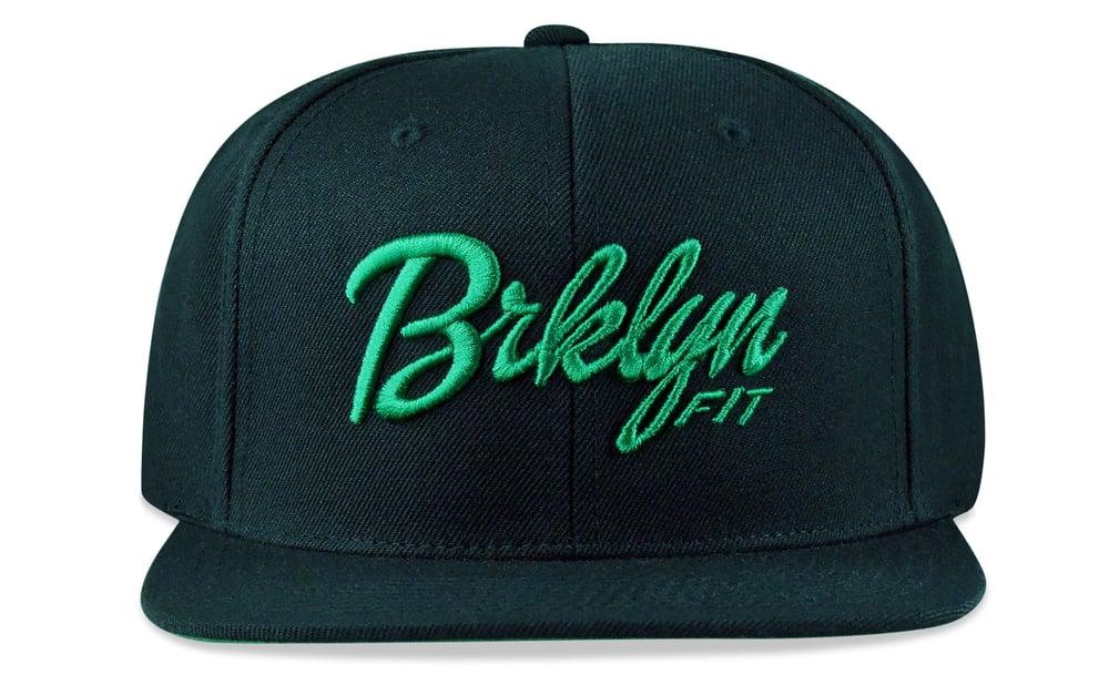 Image of BRKLYN FIT® LOGO - 3D (BLACK/GREEN) - SNAPBACK