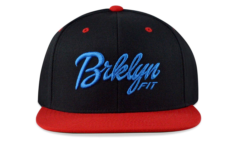 Image of BRKLYN FIT® LOGO - 3D (BLACK/BABY BLUE/ RED) - SNAPBACK
