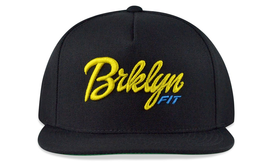 Image of BRKLYN FIT® LOGO - 3D (BLACK/YELLOW/BABY BLUE) - SNAPBACK
