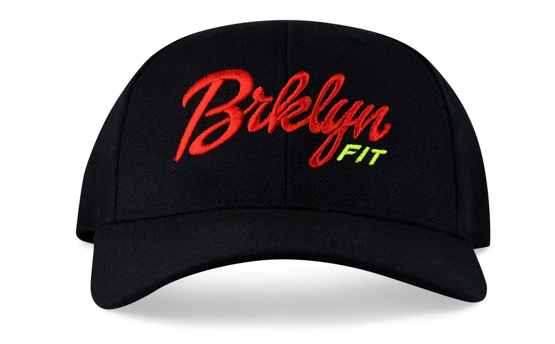 Image of BRKLYN FIT® LOGO - (BLACK/RED/VOLT) - CURVED SNAPBACK