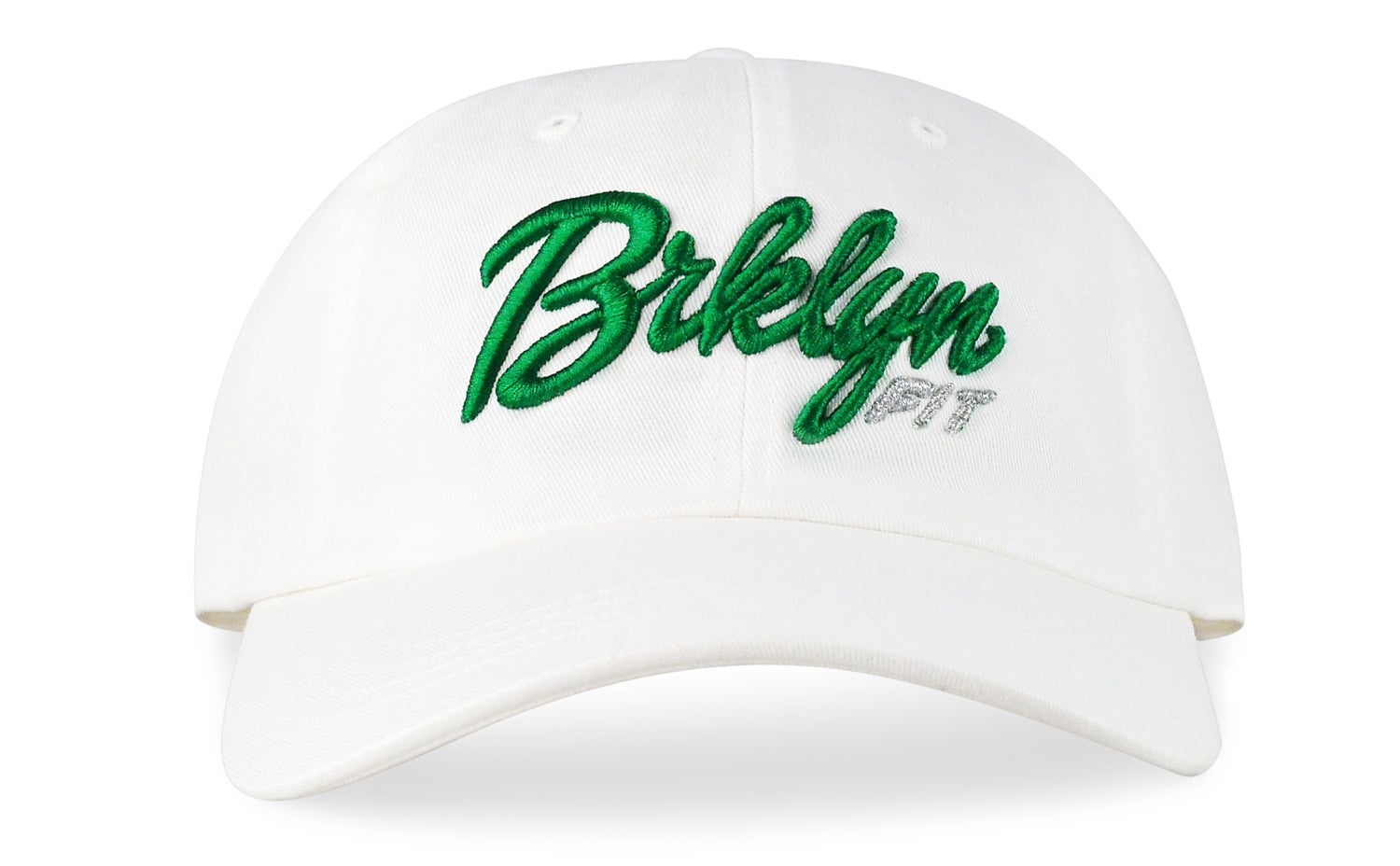 Image of BRKLYN FIT® LOGO - 3D (WHITE/GREEN/METALLIC SILVER) - DAD HAT