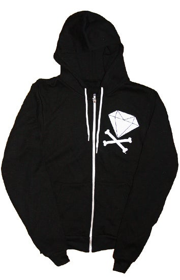 Image of Diamond & Crossbones Zip-Up Hoodie (Black/White)
